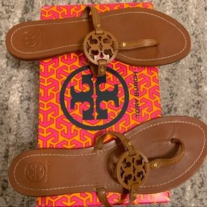 Tory Burch Mini Miller Royal Tan Flat Sandals